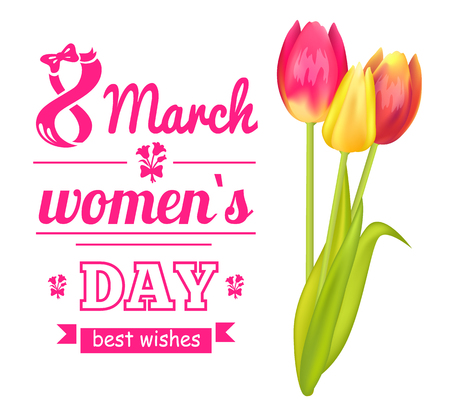 8 March Poster and Tulip, Vector Illustration Stock Illustratie