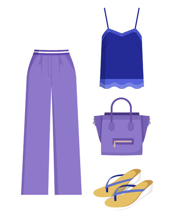 Lilac Trousers and Handbag, Blue Shirt, Color Card