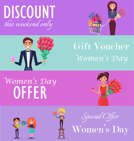Concept of special offer, gift voucher and discount this weekend only on womens day color horizontal cards vector illustration.