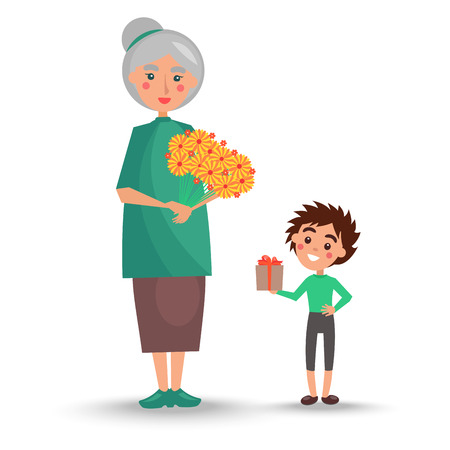 Old Woman Holds Bouquet of Flowers and Grandson Ilustrace