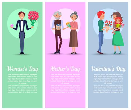 女性のための贈り物と花束を持つ男性とおじいちゃん
