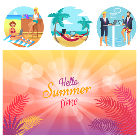 Hello summer time, poster set with title and bokeh, woman in red hammock between palms, bar and cocktail, men chatting, isolated on vector illustration