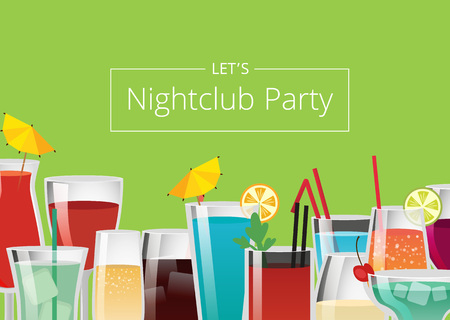Nightclub party color card vector illustration with different colorful alcoholic drinks, lot of straws umbrella and mint leaf pieces of ice and cherry Ilustração