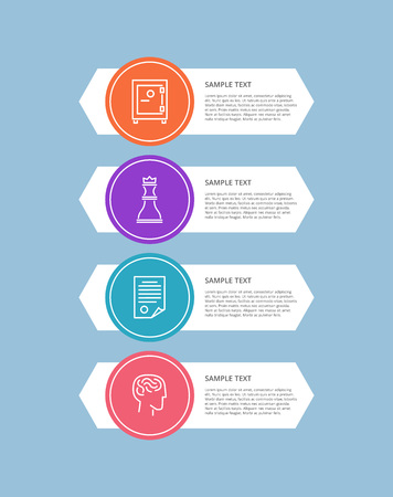 Infographic elements, circular icons filled with colors, stripes with text sample, and headline, vector illustration, isolated on blue background
