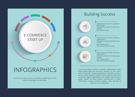 E-commerce start up and building success infographic posters with visual schemes and sample text cartoon flat vector illustrations on blue background.