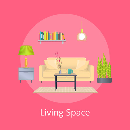 Living space promo poster with interior design. Light couch, exotic plants, coffee table, compact bookshelf and bright lamps vector illustrations. Иллюстрация