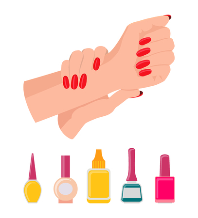 Hands and Nail Polish Poster Vector Illustration