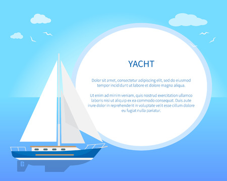 Pretty Card with Yacht, Color Vector Illustration Illustration