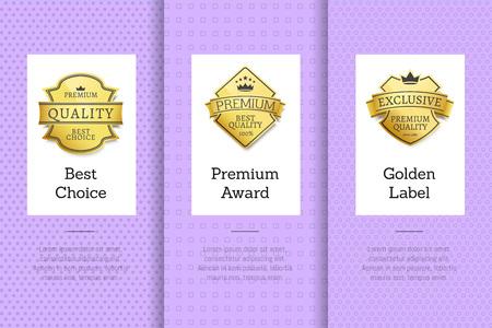 Best Choice Premium Award Golden Label, Guarantee Vector illustration. Archivio Fotografico - 96413015
