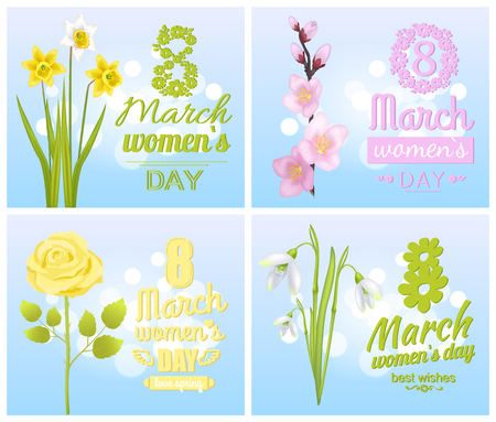 8 March Womens Day Greeting Cards Design Flowers Vector illustration.