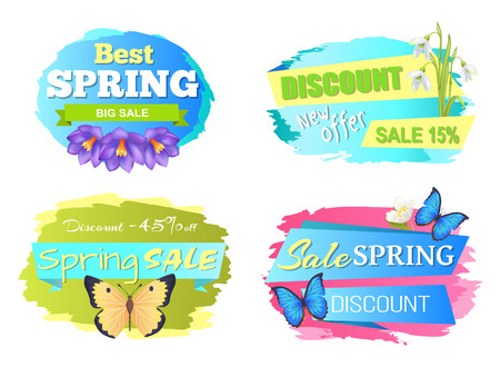 Best Spring Sale Label Crocus Flowers, Discounts Vector illustration.