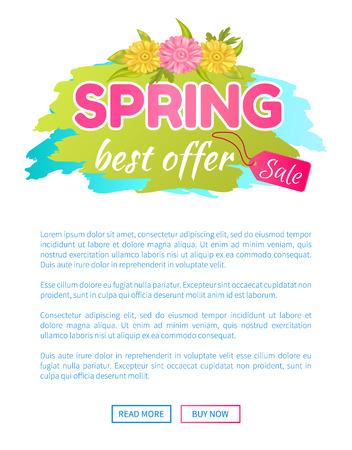 Best Offer Spring Sale Advertisement Daisy Flowers Vector illustration.