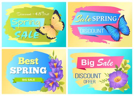 Big Spring Sale Advert Labels Flowers Butterfly Vector illustration.