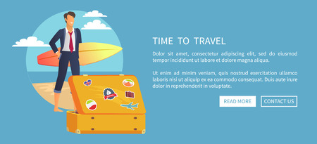 Time to Travel Web Poster Push Buttons  Vector illustration.