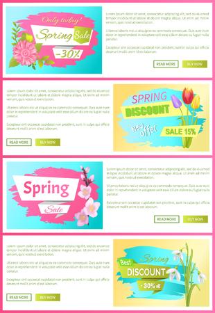 Only Today Spring Sale Set Vector Illustration