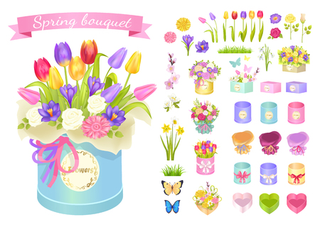 Spring Bouquet Poster Set Vector Illustration