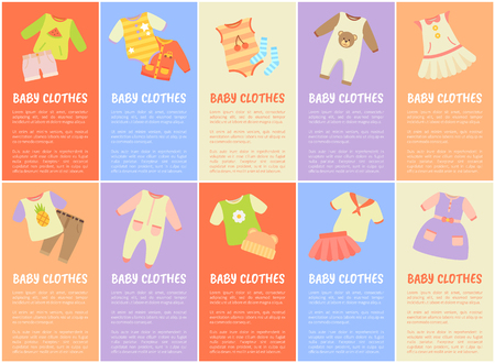 Baby Clothes Set with Text Vector Illustration 일러스트