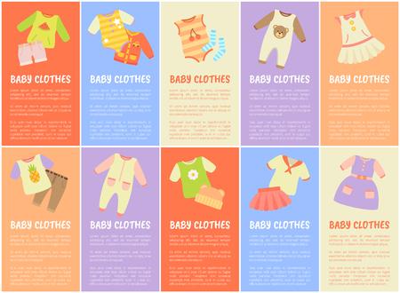 Baby Kleidung mit Text Vektor-Illustration Standard-Bild - 96551087