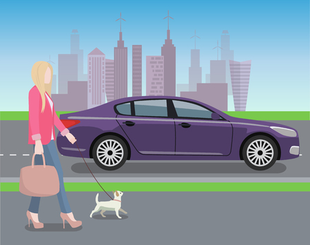 Woman Walking Dog in City Vector Illustration