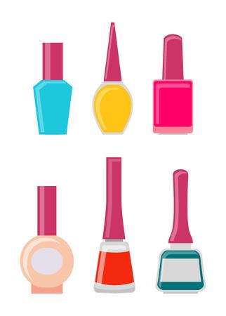 Bright Gel Nail Polishes in Glass Bottles Set Çizim