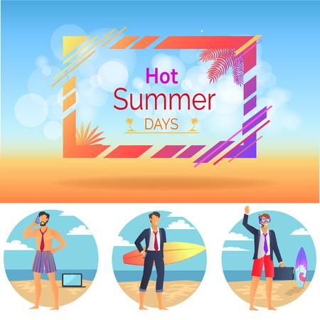 Hot Summer Days Set Poster Vector Illustration 일러스트