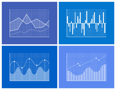 Statistical and Analytical Monochrome Graphics Set Illustration