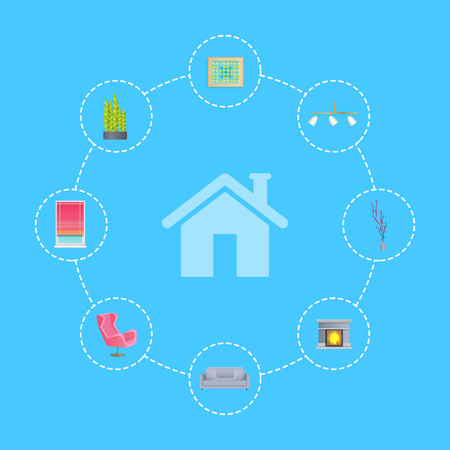 Interior Design Decor Elements around House Icon