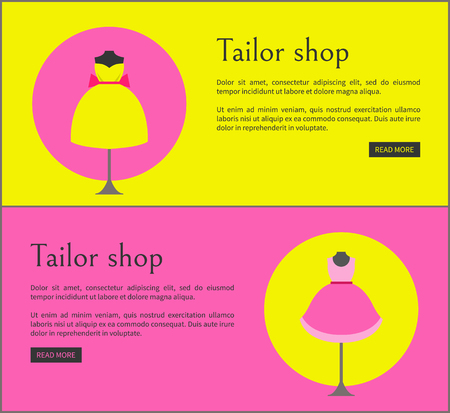 Tailor Shop Web Pages Set Vector Illustration