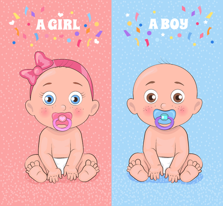 Baby Boy and Baby Girl Set Vector Illustration Stock Illustratie