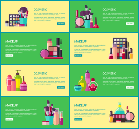 Cosmetic Makeup Collection Vector Illustration