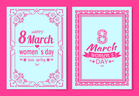 Womens Day Postcard with Big Sign and Swirly Frame Imagens