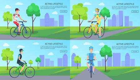 Active Lifestyle Web Pages Set Vector Illustration Ilustrace