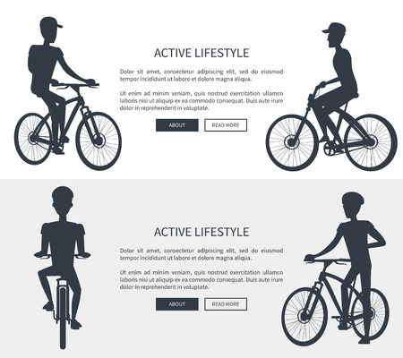 Active Lifestyle Bikes Set Vector Illustration Ilustrace