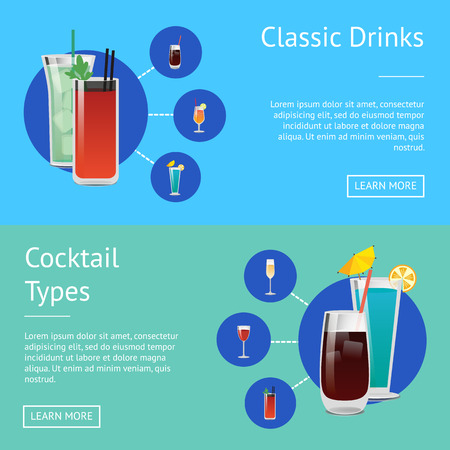 Classic Drinks Cocktail Types Posters Bloody Mary 向量圖像