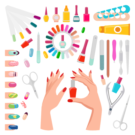 Nail Art Samples and Tools Vector Illustration