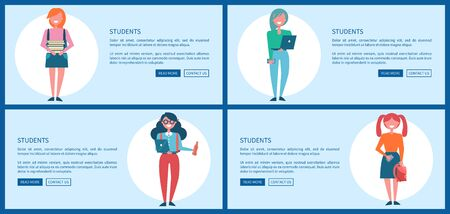 Student Girls Set of Posters with Push Buttons Stock Photo
