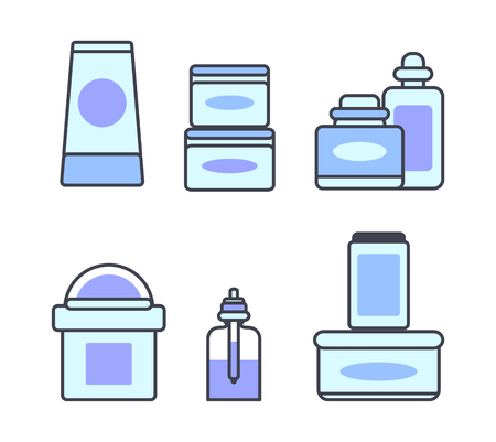 Natural Skincare Cosmetic Means Illustrations Set