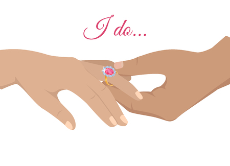 Marriage Proposal or Engagement Vector Concept Illustration