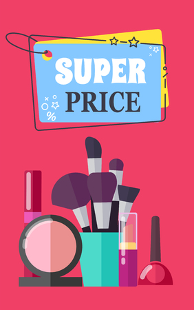 Super Price for Makeup Brushes and Cosmetics Promo  イラスト・ベクター素材