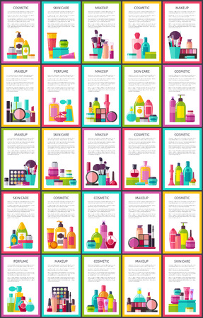 Cosmetics and Skin Care Set Vector Illustration
