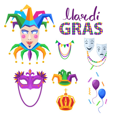 Magri Gras Carnival Vector Concept with Masks