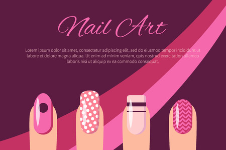 Nail Art Multicolored Poster Vector Illustration