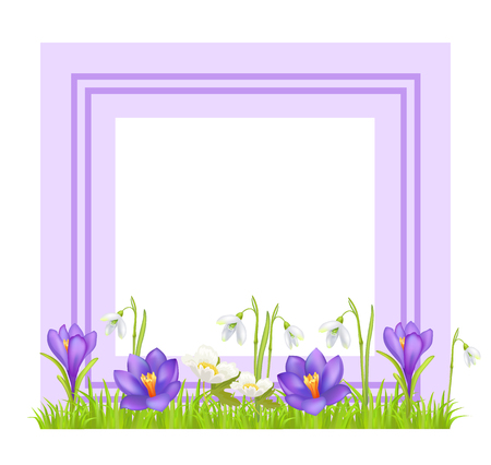 Decorative frame with text space and spring flowers design Imagens - 96519317