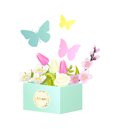 Bouquets and Butterflies, Vector Illustration Illustration