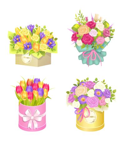 Bouquet set vector illustration