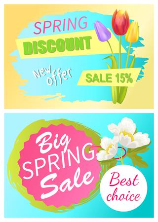 Spring Discount Offer sale advertisement sticker or poster set Illustration