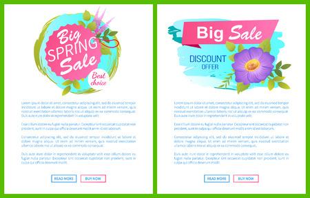 Big Spring Sale Discounts Offer Posters Set Flower