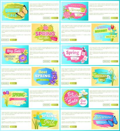 Spring Sale off Set of Advertisement Labels Flower