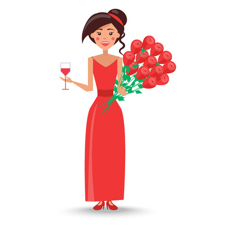 Female in Red Dress with Wineglass and Bouquet