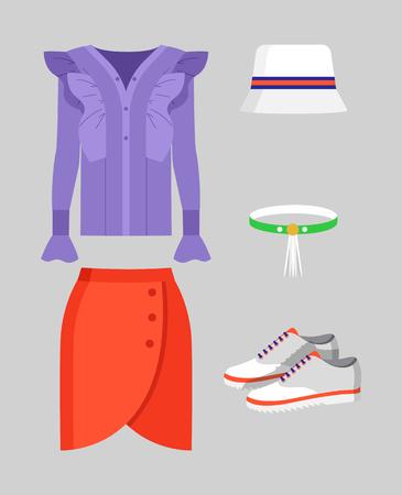 Set of Stylish Clothing for Warm Weather Vector illustration.